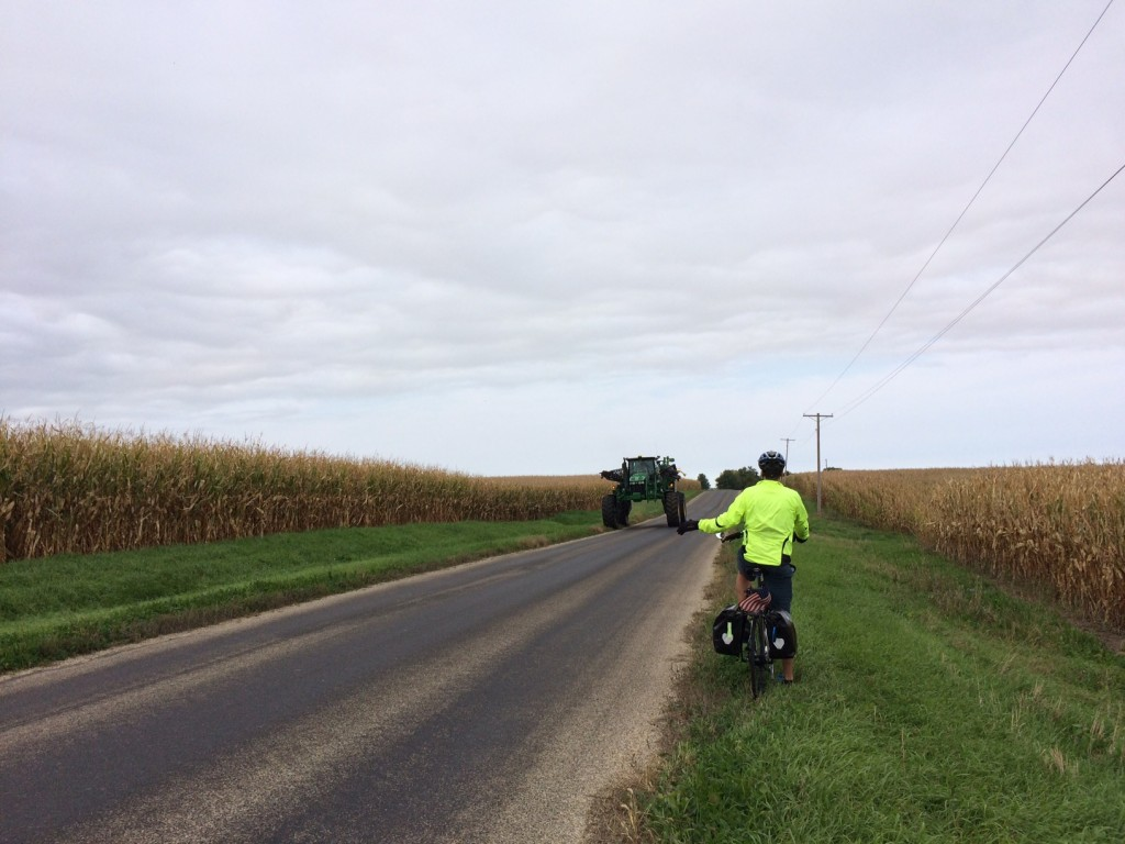 Watch out!  During harvest season farm equipment creates real road hazards.