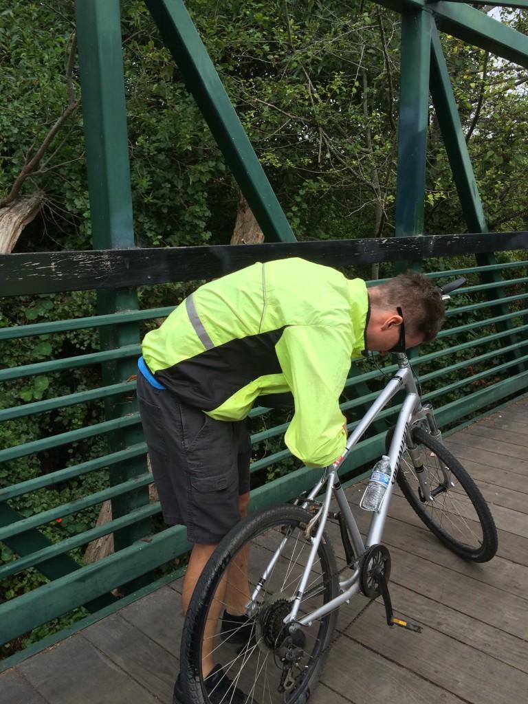 Fixing his own rental bike in California.