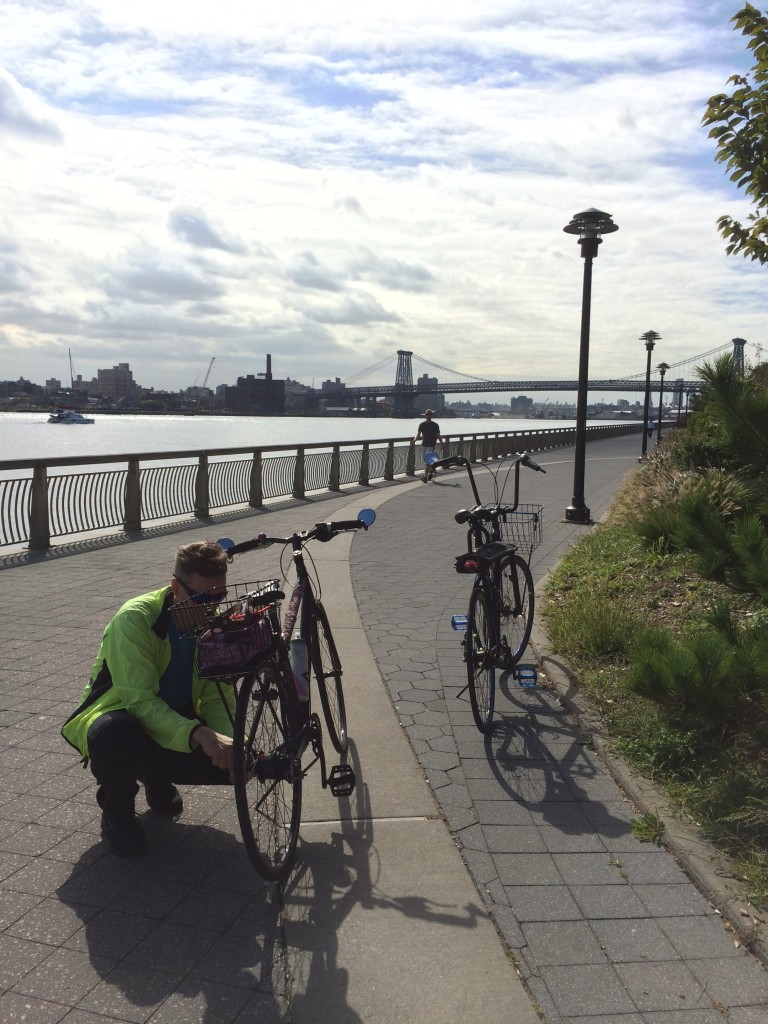 My own personal roadside bike repair service on the East River bikeway..!