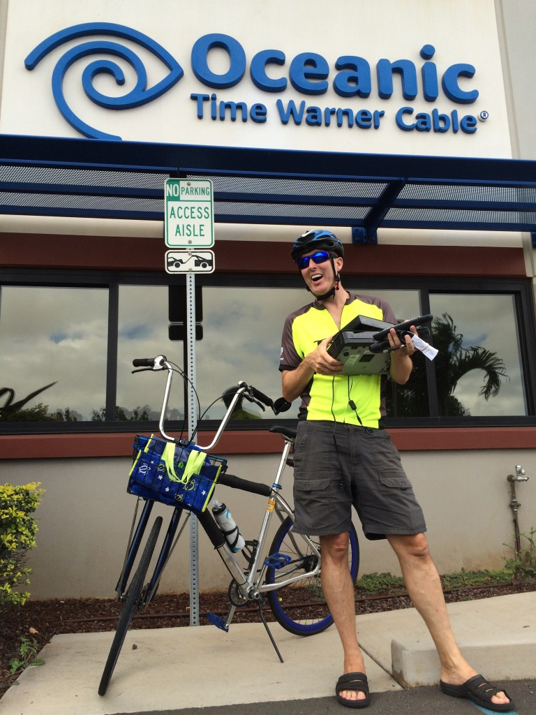 Third Mission: We biked to Time Warner cable to return our cable boxes. (They have great customer service and don't mind if you sign up for just three months at a time).