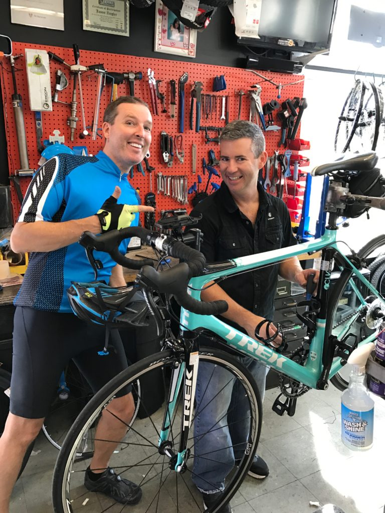 Next stop, Sussex Bike & Sport to say HI to Jason. Ron got a new spare tube and they discussed the ergonomics of bike seats.
