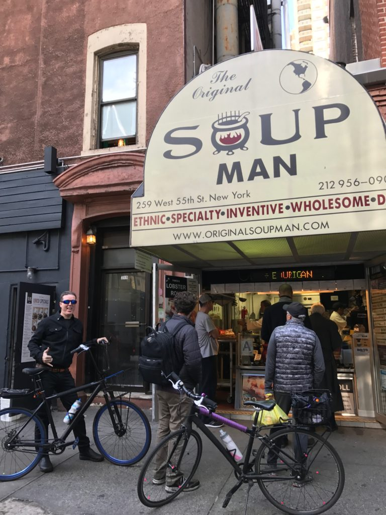 """It might be 60 degrees, but we thought it was a good day for soup. We went to the original location of the Seinfeld """"soup nazi."""" Lobster bisque is always good."""