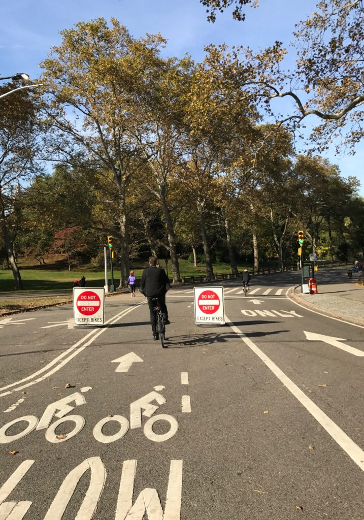 We headed into Central Park. Oh right: do not enter EXCEPT BIKES!!!