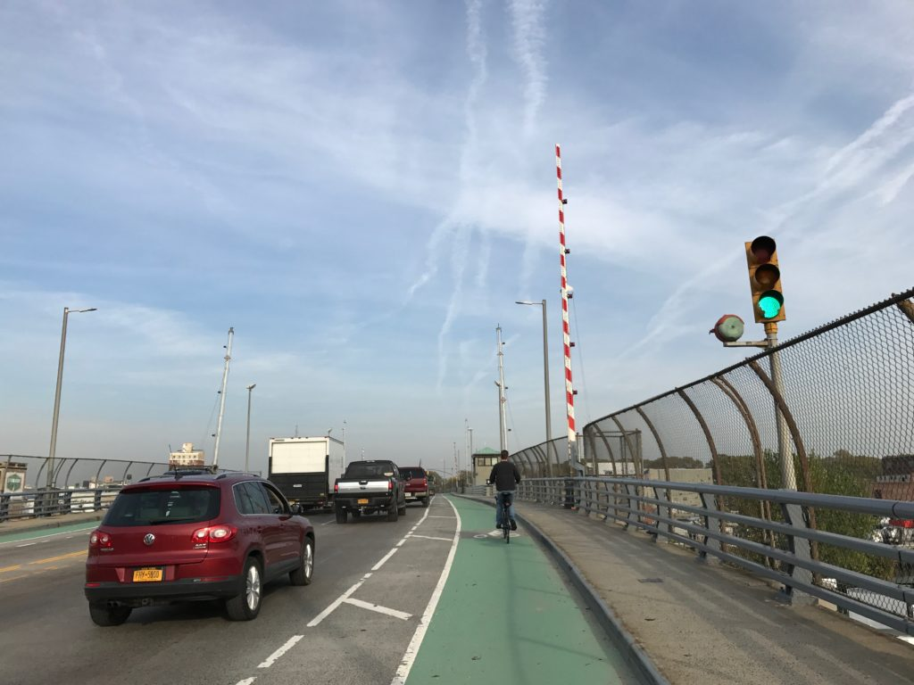 We headed back to Queens over the John Jay Byrne Bridge (a new one to us!) and sought another adventure. Nice bike lane!