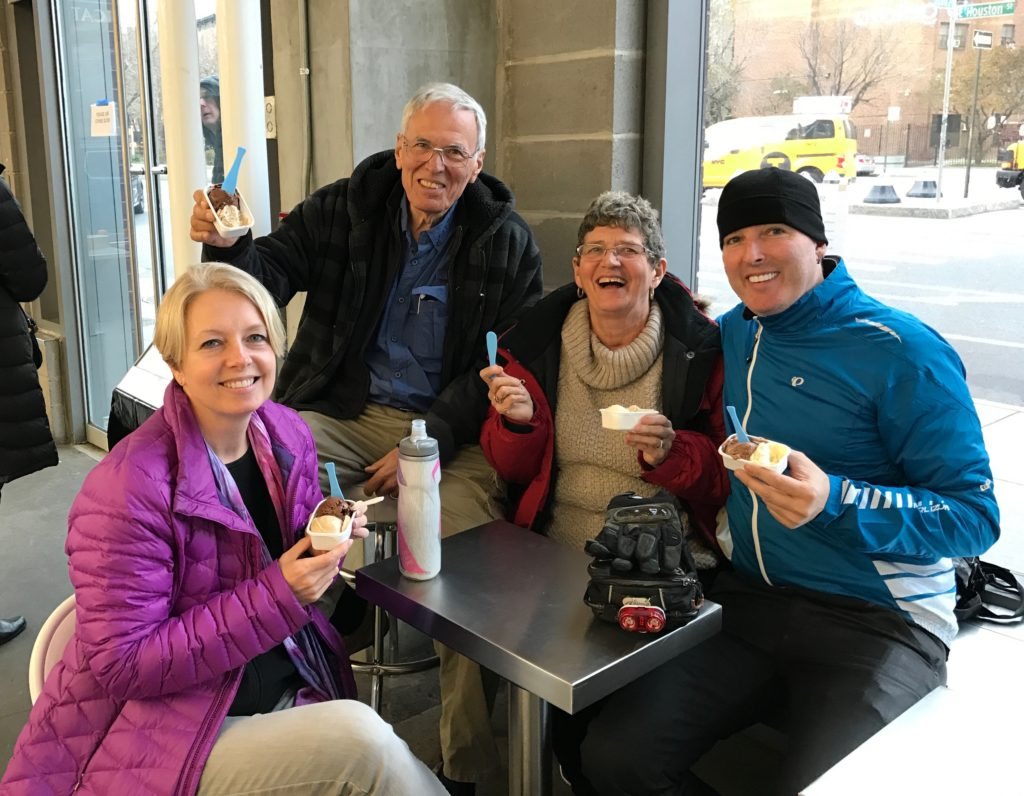 Steve and Yvonne have been averaging 9 miles walking every day in NYC so we powered them up with gelato: chestnut, dark chocolate, egg nog, salty caramel and chocolate mint.