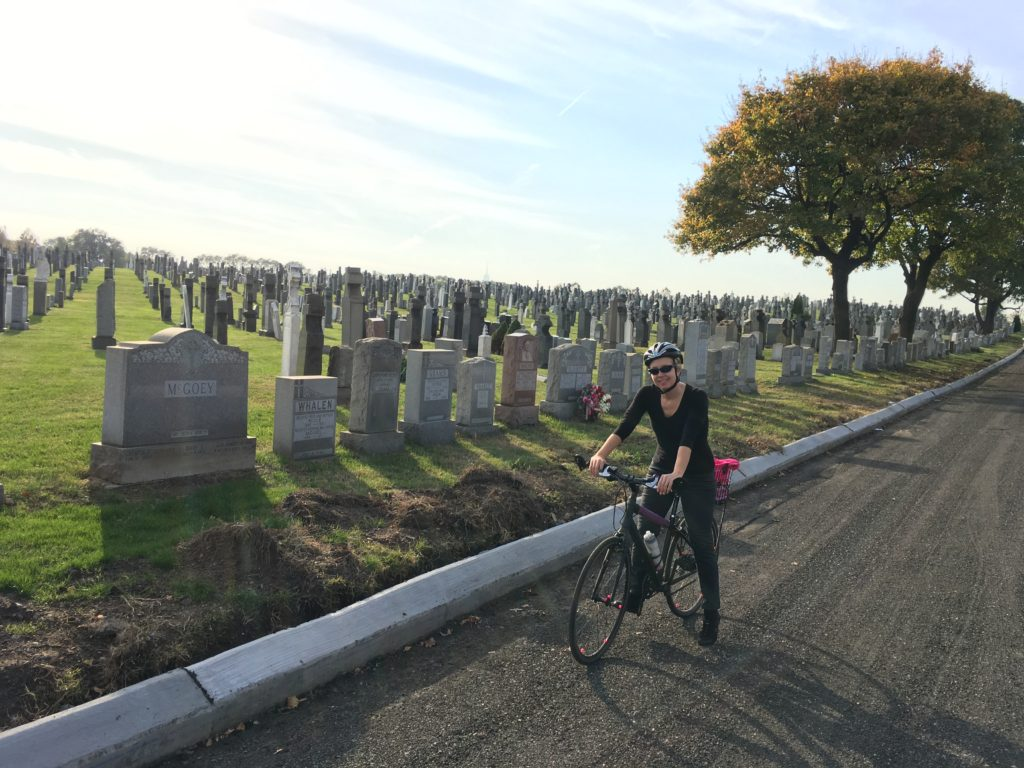 I brought Ron to the First Calvary cemetery in Maspeth. It's a truly beautiful and relaxing place for a bike ride.