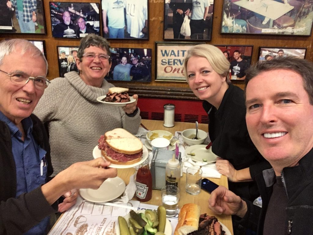We turned them onto a New York institution: Katz's Deli. They enjoyed pastrami and corned beef.