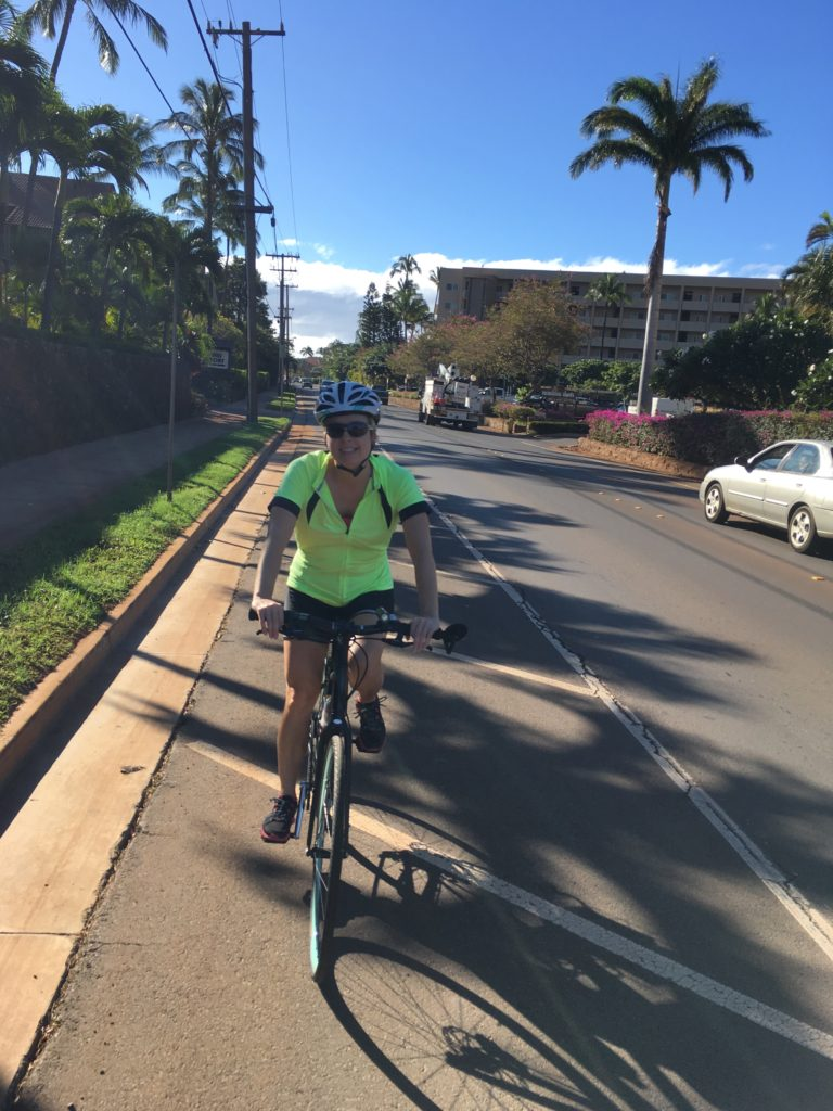 """There are a lot of cyclists on Maui.. You've got locals just getting around, serious """"Lancey pants"""" and tourists on rental bikes. We are somewhere in between. We might put on padded spandex shorts, but we're always looking for adventure, not just putting in miles for exercise."""